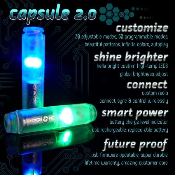 capsule 2.0 led light unit functions including setting adjustments, customizable modes, updateable firmware, and wireless control