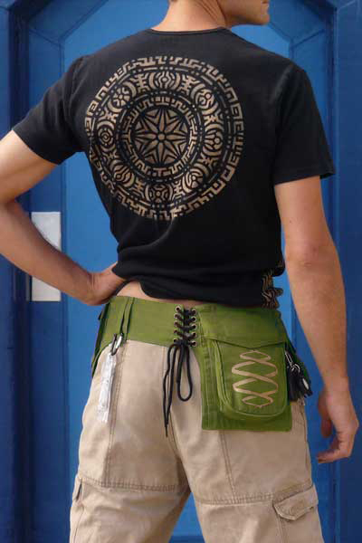 green hipsack worn by male model